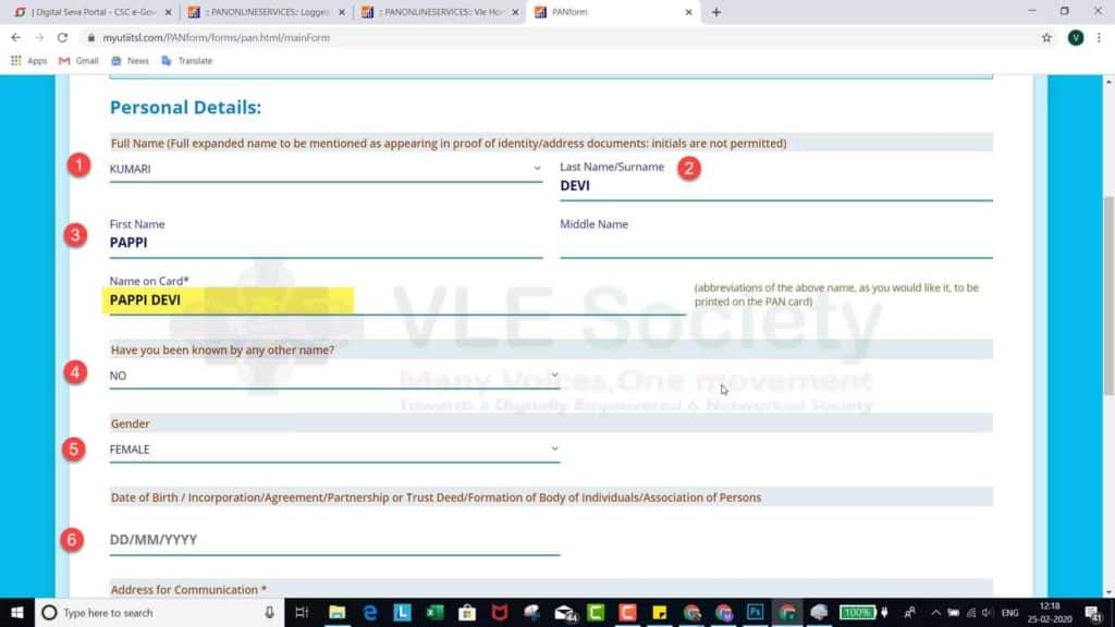 fill name gender date of birth in application form