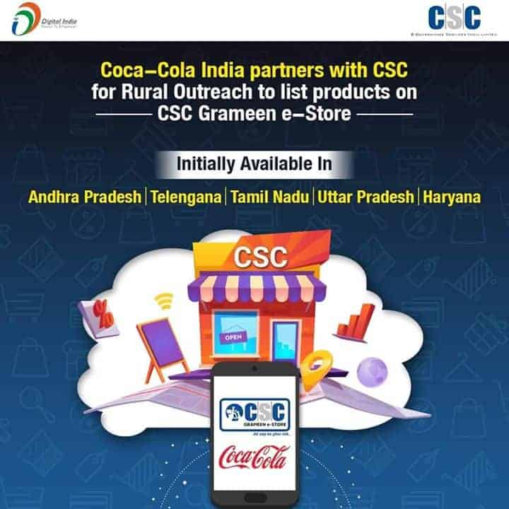 csc coco cola india partners with csc rural outreach to list products on csc grameen e store