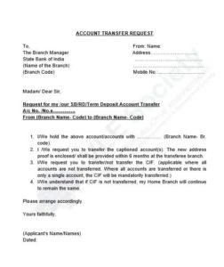 Application For Bank Account Transfer to Another Bank Branch