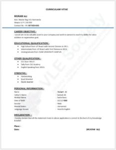 Student CV Resume Template Doc Format For Job Application Without Photo