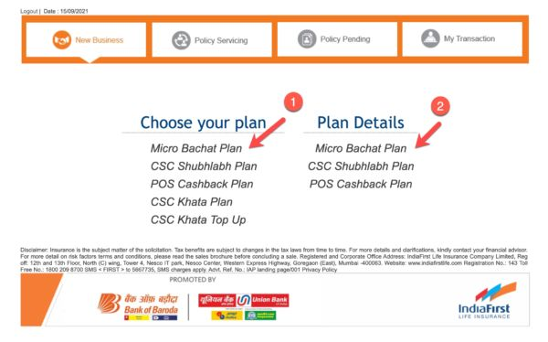 Choose Micro Bachat Plan from Given Options