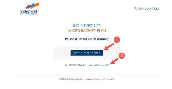 India first Life Insurance Micro Bachat plan Personal Detailes of Life Assured